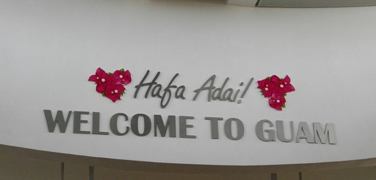 Hafa Adai greeting at Guam Airport