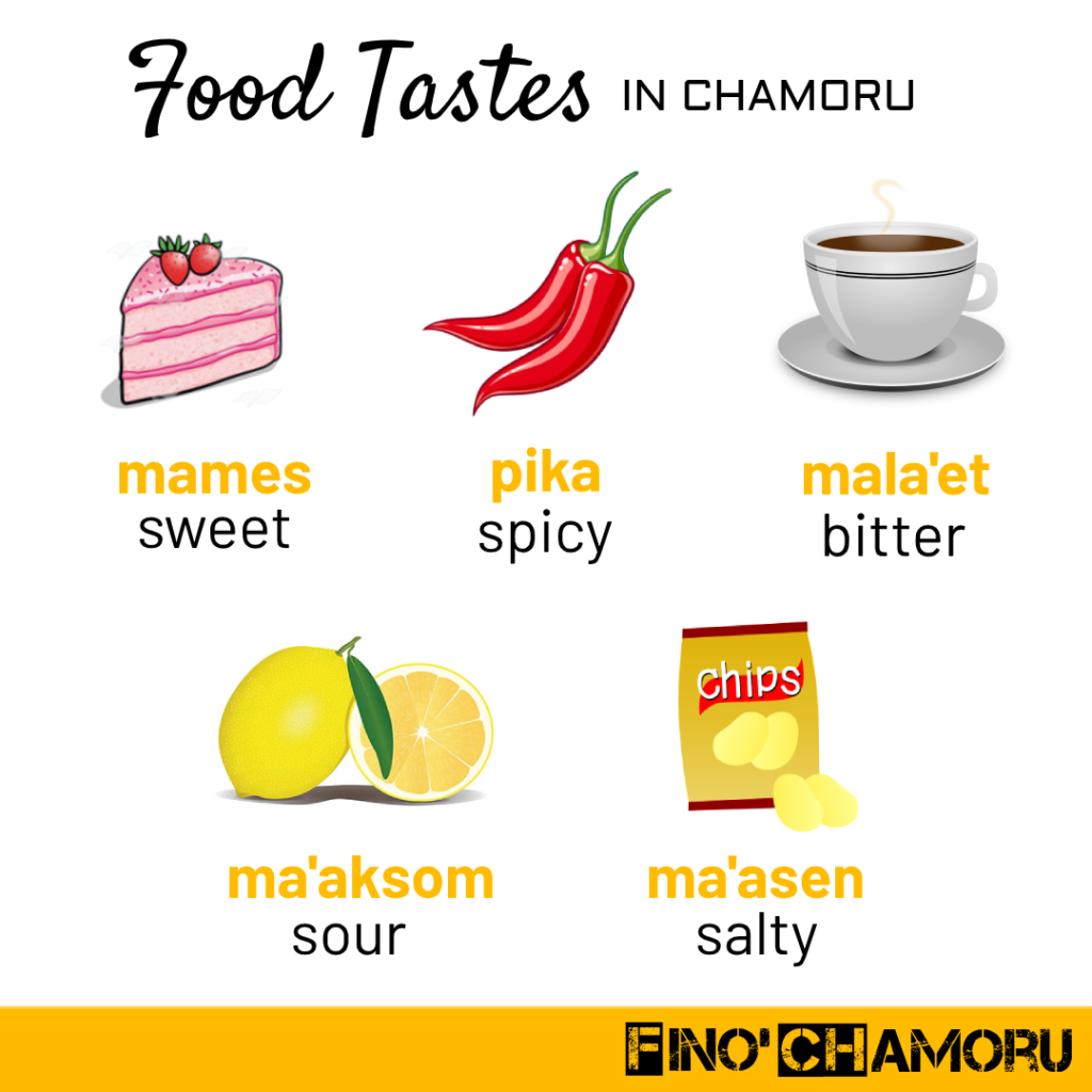 This image illustrates some useful words to describe food tastes in Chamorro.